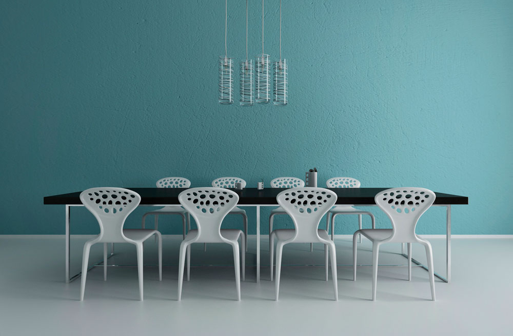Pared color mint en el comedor