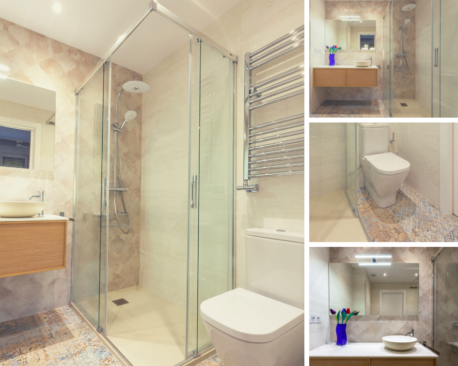 Varias perspectivas del baño reformado de la habitación principal